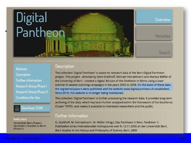 TYPOLOGIE • Projektspezifische Forschungsdaten-Repositorien • Beispiele: • The Bern Digital Pantheon Project, http://re...