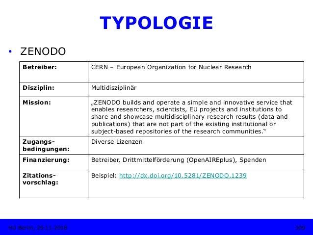 "TYPOLOGIE • ZENODO Betreiber: CERN – European Organization for Nuclear Research Disziplin: Multidisziplinär Mission: ""ZEN..."