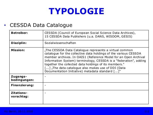 TYPOLOGIE • CESSDA Data Catalogue Betreiber: CESSDA (Council of European Social Science Data Archives), 15 CESSDA Data Pu...