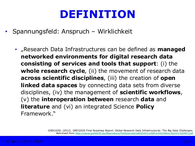 """DEFINITION • Spannungsfeld: Anspruch – Wirklichkeit • """"Research Data Infrastructures can be defined as managed networked..."""