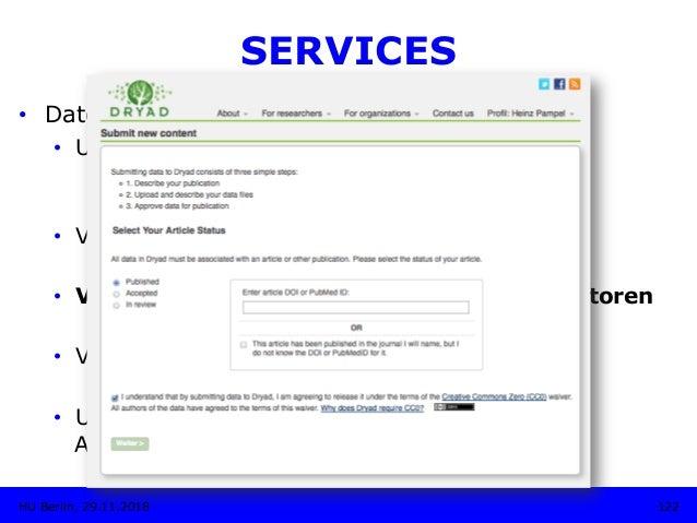 SERVICES • Daten-Upload • Unterstützung bei der Metadaten-Vergabe • Import- und Export der Metadaten • Thesauri, Klass...