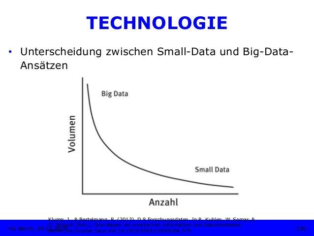 TECHNOLOGIE • Unterscheidung zwischen Small-Data und Big-Data- Ansätzen Klump, J., & Bertelmann, R. (2013). D 8 Forschung...