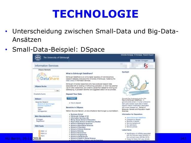 TECHNOLOGIE • Unterscheidung zwischen Small-Data und Big-Data- Ansätzen • Small-Data-Beispiel: DSpace 143HU Berlin, 29.1...