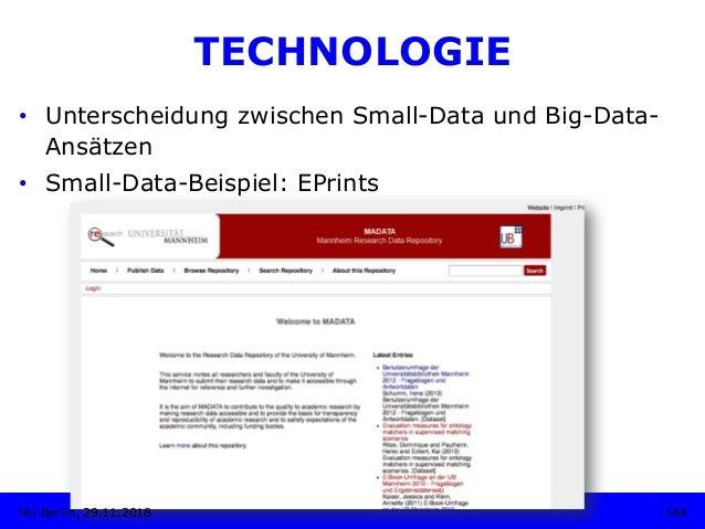 TECHNOLOGIE • Unterscheidung zwischen Small-Data und Big-Data- Ansätzen • Small-Data-Beispiel: EPrints 144HU Berlin, 29....