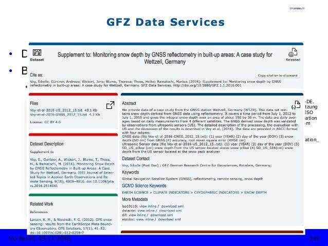 METADATEN • Diverse disziplinäre Standards • Beispiel: ISO 19115 • Erd- und Umweltwissenschaften Koordinierungsstelle G...
