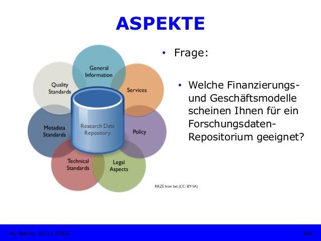 ASPEKTE • Frage: • Welche Finanzierungs- und Geschäftsmodelle scheinen Ihnen für ein Forschungsdaten- Repositorium geeig...