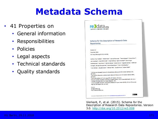 Metadata Schema • 41 Properties on • General information • Responsibilities • Policies • Legal aspects • Technical s...