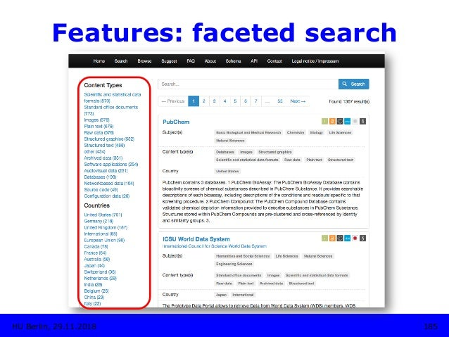 Features: faceted search HU Berlin, 29.11.2018 185