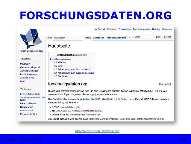 FORSCHUNGSDATEN.ORG http://www.forschungsdaten.org 208HU Berlin, 29.11.2018
