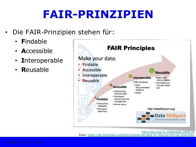 • Die FAIR-Prinzipien stehen für: • Findable • Accessible • Interoperable • Reusable HU Berlin, 29.11.2018 213 http:/...
