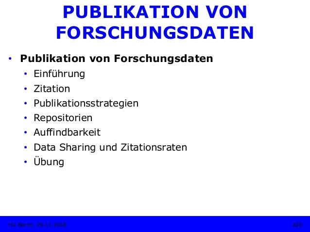 PUBLIKATION VON FORSCHUNGSDATEN • Publikation von Forschungsdaten • Einführung • Zitation • Publikationsstrategien • ...