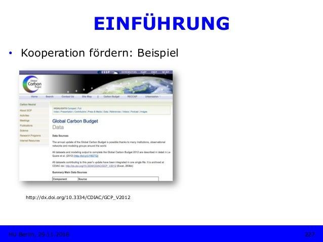 227HU Berlin, 29.11.2018 EINFÜHRUNG • Kooperation fördern: Beispiel http://dx.doi.org/10.3334/CDIAC/GCP_V2012