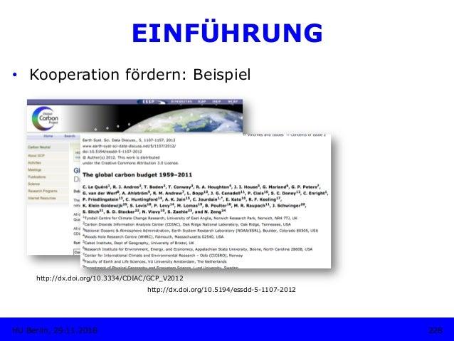 http://dx.doi.org/10.3334/CDIAC/GCP_V2012 228HU Berlin, 29.11.2018 EINFÜHRUNG • Kooperation fördern: Beispiel http://dx.d...