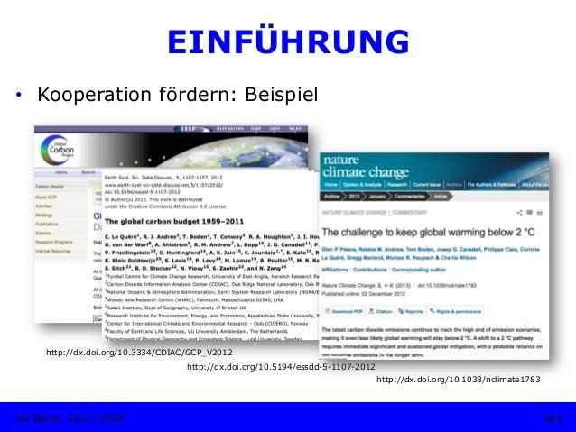 http://dx.doi.org/10.3334/CDIAC/GCP_V2012 229HU Berlin, 29.11.2018 EINFÜHRUNG • Kooperation fördern: Beispiel http://dx.d...
