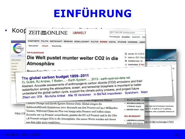 http://dx.doi.org/10.3334/CDIAC/GCP_V2012 231HU Berlin, 29.11.2018 EINFÜHRUNG • Kooperation fördern: Beispiel http://dx.d...