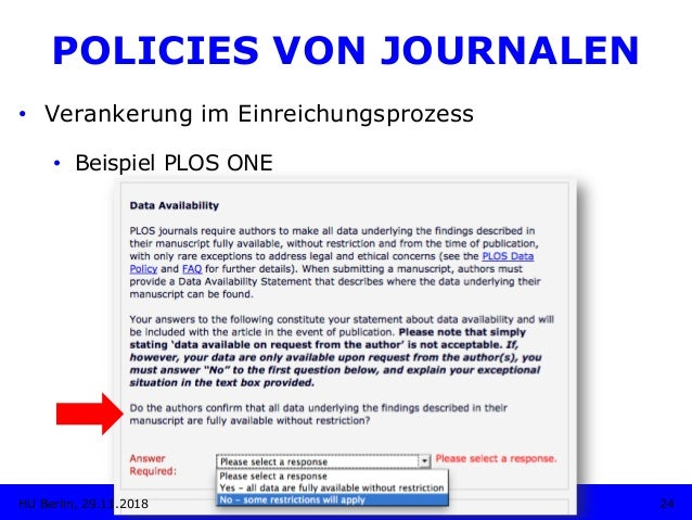 • Verankerung im Einreichungsprozess • Beispiel PLOS ONE 24HU Berlin, 29.11.2018 POLICIES VON JOURNALEN