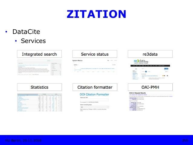 255HU Berlin, 29.11.2018 ZITATION • DataCite • Services