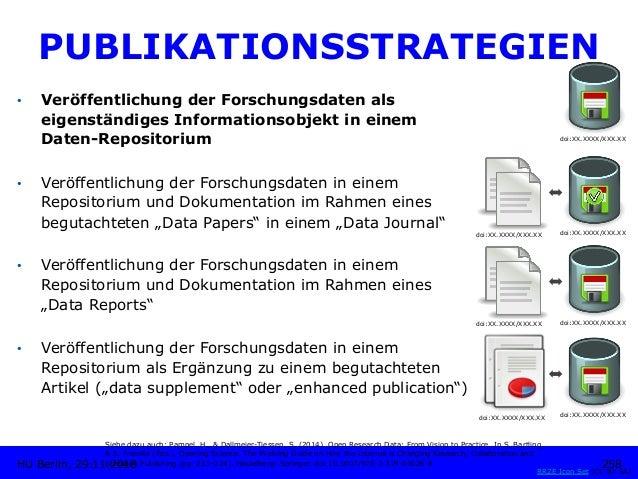 PUBLIKATIONSSTRATEGIEN • Veröffentlichung der Forschungsdaten als eigenständiges Informationsobjekt in einem Daten-Reposi...