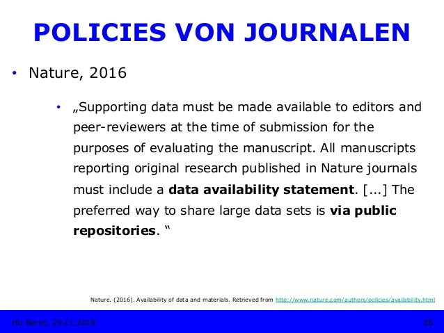 """• Nature, 2016 • """"Supporting data must be made available to editors and peer-reviewers at the time of submission for the..."""