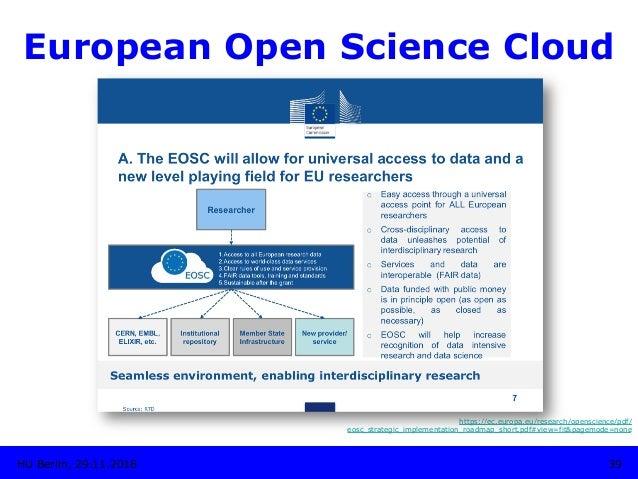 European Open Science Cloud 39HU Berlin, 29.11.2018 https://ec.europa.eu/research/openscience/pdf/ eosc_strategic_implemen...