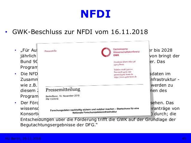 """NFDI 45HU Berlin, 29.11.2018 • GWK-Beschluss zur NFDI vom 16.11.2018 • """"Für Aufbau und Förderung der NFDI wollen Bund un..."""