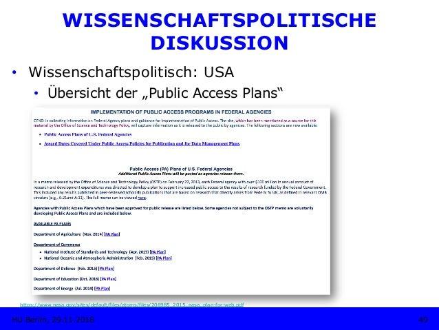"""• Wissenschaftspolitisch: USA • Übersicht der """"Public Access Plans"""" 49HU Berlin, 29.11.2018 https://www.nasa.gov/sites/d..."""
