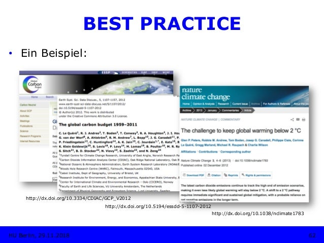http://dx.doi.org/10.3334/CDIAC/GCP_V2012 62HU Berlin, 29.11.2018 BEST PRACTICE • Ein Beispiel: http://dx.doi.org/10.5194...