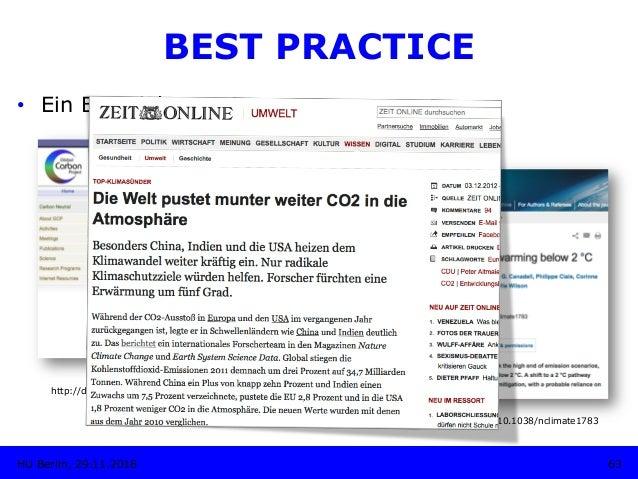 http://dx.doi.org/10.3334/CDIAC/GCP_V2012 63HU Berlin, 29.11.2018 BEST PRACTICE • Ein Beispiel: http://dx.doi.org/10.5194...