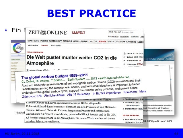 http://dx.doi.org/10.3334/CDIAC/GCP_V2012 64HU Berlin, 29.11.2018 BEST PRACTICE • Ein Beispiel: http://dx.doi.org/10.5194...