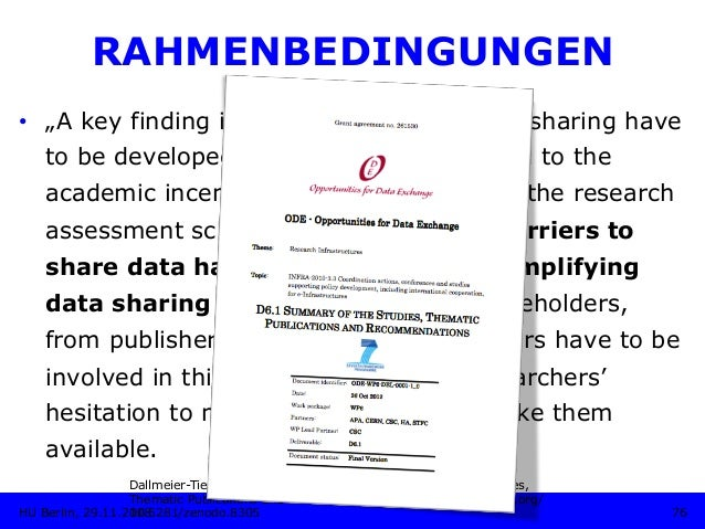 """RAHMENBEDINGUNGEN • """"A key finding is that incentives for data sharing have to be developed. These have to be linked to t..."""
