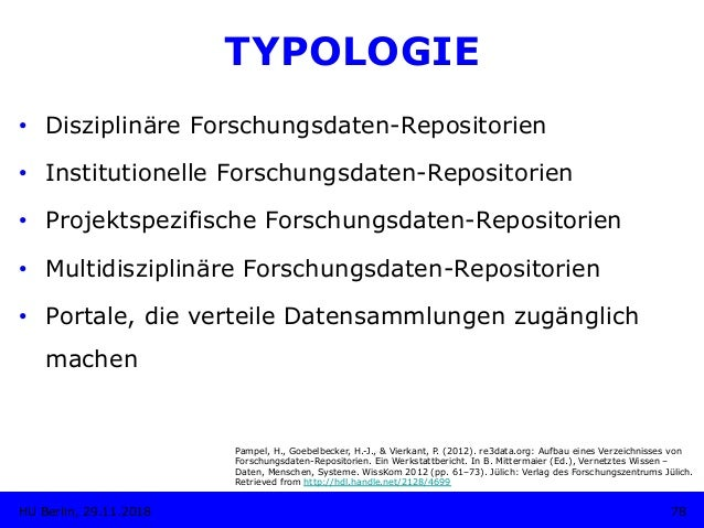 TYPOLOGIE • Disziplinäre Forschungsdaten-Repositorien • Institutionelle Forschungsdaten-Repositorien • Projektspezifisc...
