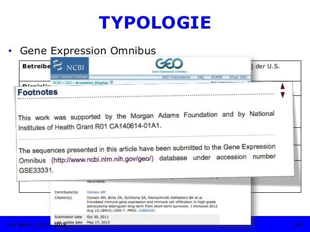 TYPOLOGIE • Gene Expression Omnibus Betreiber: National Center for Biotechnology Information (NCBI) der U.S. National Lib...