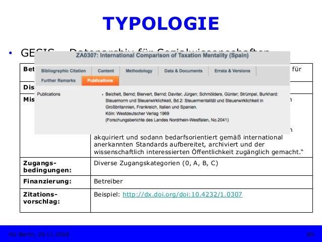 TYPOLOGIE • GESIS – Datenarchiv für Sozialwissenschaften Betreiber: GESIS - Leibniz-Institut für Sozialwissenschaften, Da...