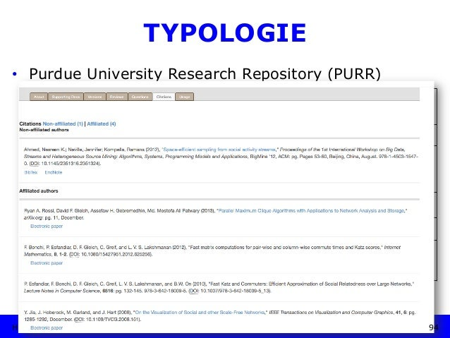 """HU Berlin, 29.11.2018 TYPOLOGIE • Purdue University Research Repository (PURR) Betreiber: """"PURR is a collaboration among ..."""