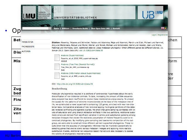 HU Berlin, 29.11.2018 TYPOLOGIE • Open Data LMU Betreiber: Universitätsbibliothek der Ludwig-Maximilians-Universität Münc...