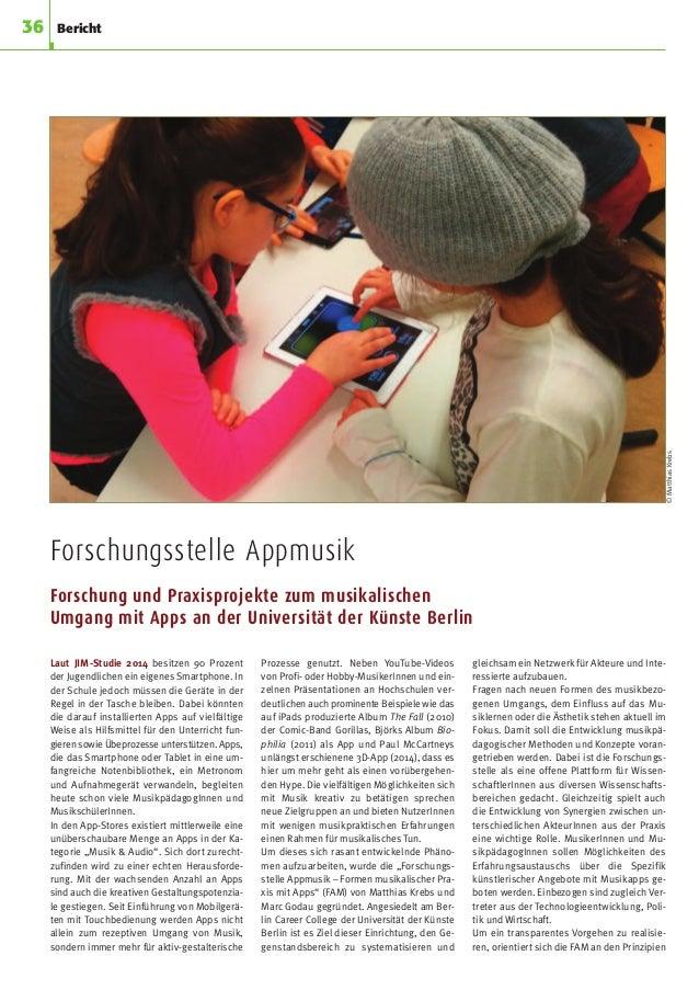 Forschungsstelle Appmusik Forschung und Praxisprojekte zum musikalischen Umgang mit Apps an der Universität der Künste Ber...