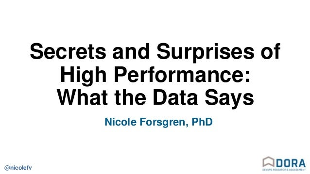 @nicolefv Secrets and Surprises of High Performance: What the Data Says Nicole Forsgren, PhD