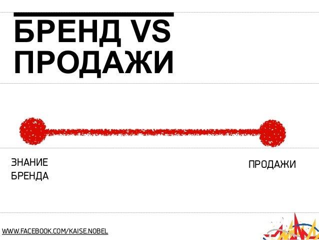БРЕНД VS ПРОДАЖИ ЗНАНИЕ БРЕНДА  WWW.FACEBOOK.COM/KAISE.NOBEL  ПРОДАЖИ