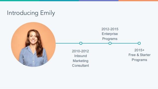 Introducing Emily 2010-2012 Inbound Marketing Consultant 2012-2015 Enterprise Programs 2015+ Free & Starter Programs