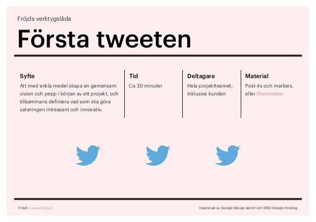 Fröjds verktygslåda Första tweeten Inspirerad av Google Design Sprint och IDEO Design thinking Syfte Att med enkla medel s...