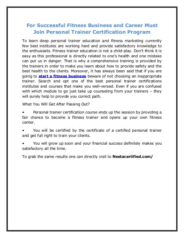 For Successful Fitness Business And Career Must Join Personal Trainer