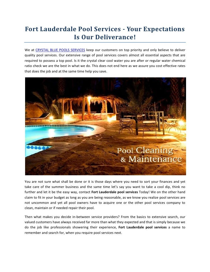 Fort Lauderdale Pool Services - Your Expectations              Is Our Deliverance!We at CRYSTAL BLUE POOLS SERVICES keep o...