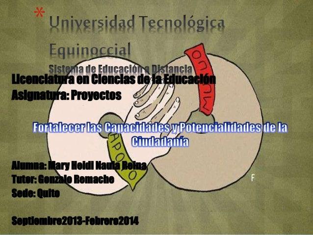 *  Licenciatura en Ciencias de la Educación  Asignatura: Proyectos  Alumna: Mary Heidi Naula Reina  Tutor: Gonzalo Remache...