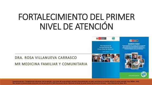 FORTALECIMIENTO DEL PRIMER NIVEL DE ATENCIÓN DRA. ROSA VILLANUEVA CARRASCO MR MEDICINA FAMILIAR Y COMUNITARIA Documento té...