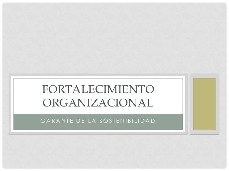FORTALECIMIENTOORGANIZACIONALGARANTE DE LA SOSTENIBILIDAD