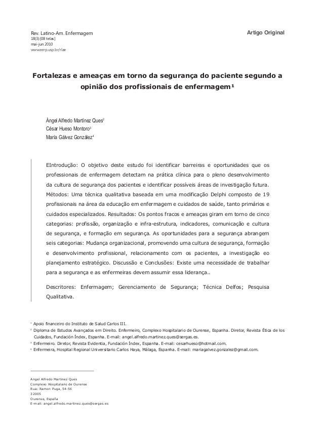 Rev. Latino-Am. Enfermagem 18(3):[08 telas] mai-jun 2010 www.eerp.usp.br/rlae Angel Alfredo Martinez Ques Complexo Hospita...
