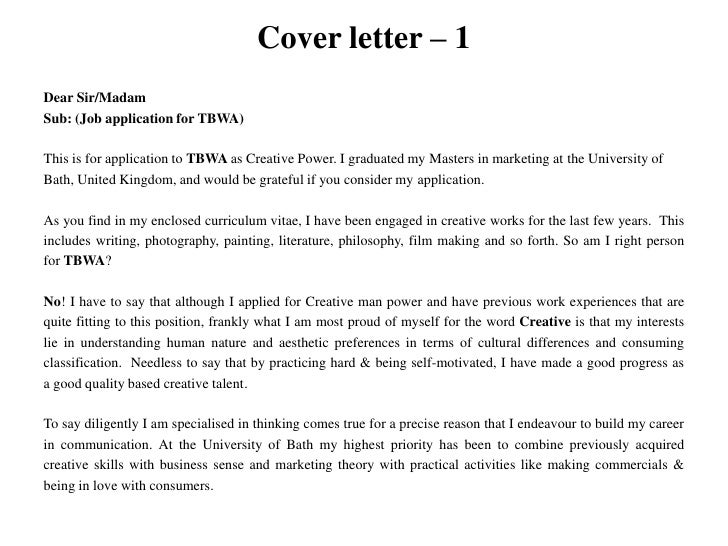 Creative Writing Cover Letter - Creative Writer Cover Letter