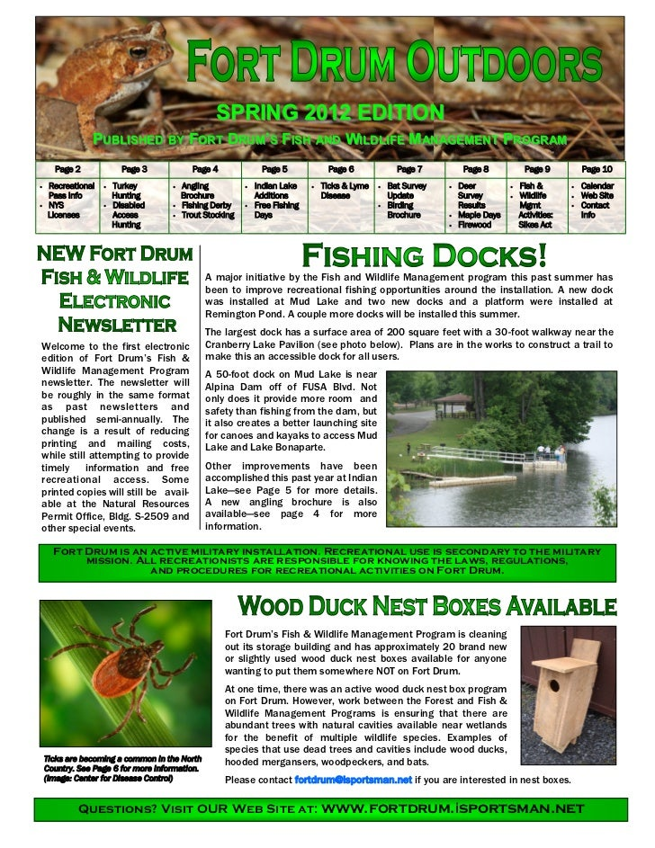 SPRING 2012 EDITION                PUBLISHED BY FORT DRUM'S FISH AND WILDLIFE M ANAGEMENT PROGRAM      Page 2             ...