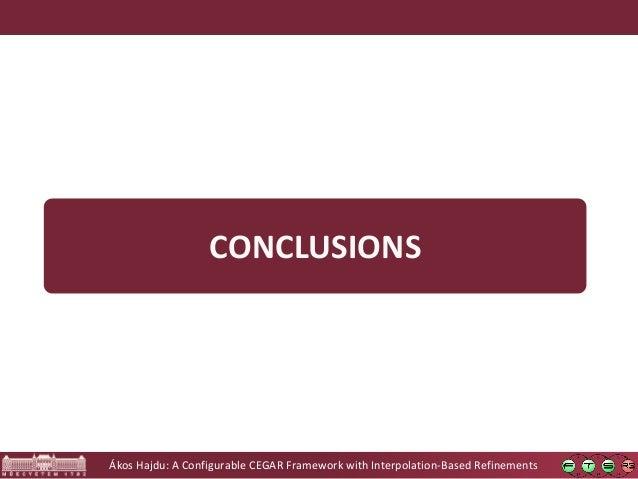 Ákos Hajdu: A Configurable CEGAR Framework with Interpolation-Based Refinements CONCLUSIONS
