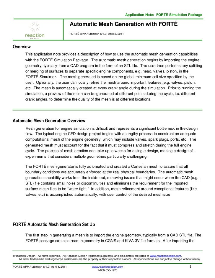 Application Note: FORTÉ Simulation Package                                             Automatic Mesh Generation with FORT...